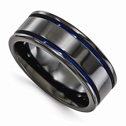 Edward Mirell Black Titanium Blue Anodized Groove 8mm Wedding Band - Size 12 by Edward Mirell
