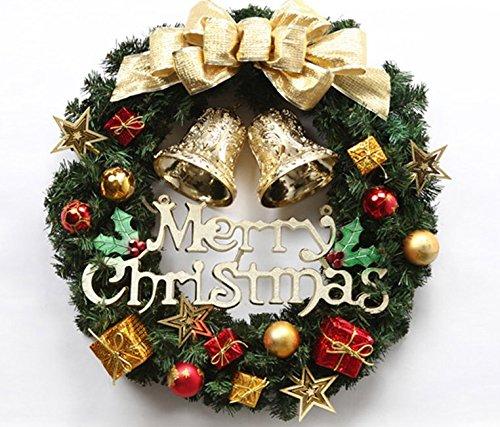 """30CM Weihnachtskranz Türkranz mit Kugeln ,Geschenkboxen, Sternen und """"Merry Christmas""""Adventskranz Weihnachtsdeko (Gold) Dreamhigh"""