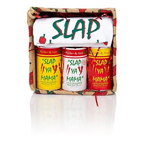 Louisiana Bourbon - Slap Ya Mama Petite Pepper Gift Basket Includes Original Seasoning 8 Ounce Can, White Pepper Blend 8 Ounce Can, Hot Blend 8 Ounce Can, Large Apron