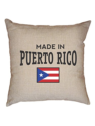 Hollywood Thread Made in Puerto Rico Flag Graphic Nation Pride Decorative Linen Throw Cushion Pillow Case with Insert (Best Beaches In Ponce Puerto Rico)
