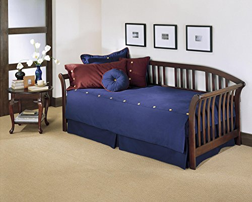 Leggett & Platt Salem Complete Wood Daybed with Euro Top Spring Support Frame and Sleigh-Style Arms, Mahogany Finish, Twin ()