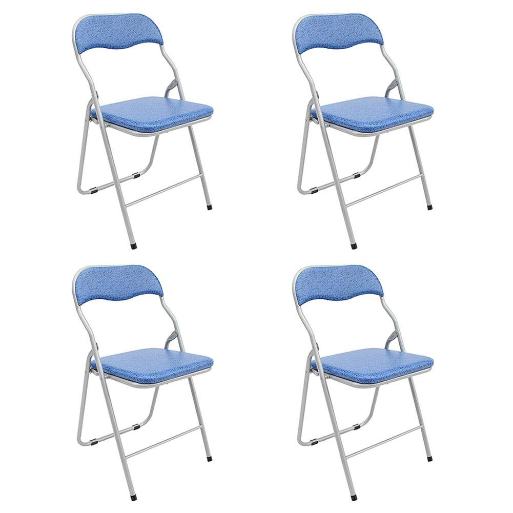 bluee 4 pieces Folding Chair Dall Office Chair Metal Frame Computer Chair Portable Home Dining Chair Staff Chair 36×39×80cm (color   bluee, Size   1 Piece)