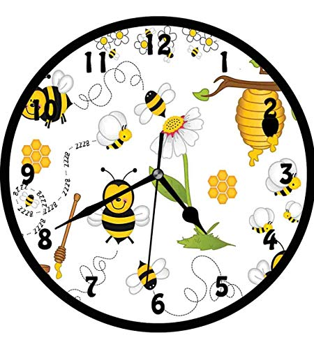 Collage, Flying Bees Daisy Honey Chamomile Flowers Pollen Springtime Animal Print,Wall Clock Nice For Gift or Office Home Unique Decorative Clock Wall Decor 12in with Frame, Yellow White Black ()