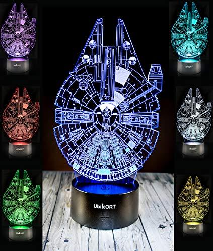 UbiKORT Star Wars Lamp 3D Night Light Millennium Falcon, Great Star Wars Gifts for Men and Kids, for Star Wars Decor ROM Fans [Upgrade -