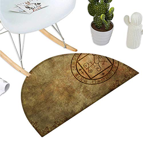 Occult Half Round Door mats Ancient Textured Mystic Occult Sigil Seal Icon Over Distressed Old Background Design Print Entry Door Mat H 43.3