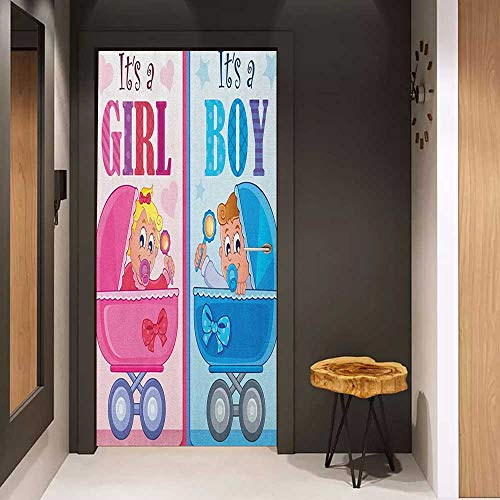 Onefzc Pantry Sticker for Door Gender Reveal Girl and Boy Baby Carriage Looking Newborn Announcement Theme Print Sticker Removable Door Decal W30 x H80 Pale Pink and -