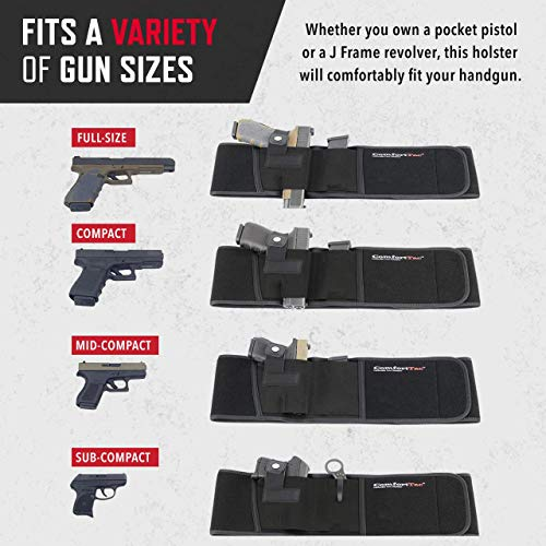 Black ComfortTac Ultimate Belly Band Holster Deep Concealment Edition Fits Glock 19 43 26 Smith and Wesson MP Shield Bodyguard Ruger LC9 Sig Sauer More Carry IWB OWB Appendix