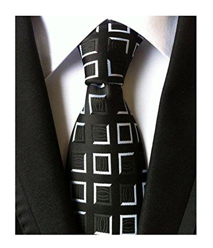 Modern Tie Dress (Elfeves Men's Black White Jacquard Woven Silk Ties Modern Groom Gingham Necktie)