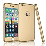 iPhone 6S Plus Case,Tekcoo [T360 HY] iPhone 6S Plus/ 6 Plus(5.5 INCH) Case Ultra Thin Full Body Coverage Protection Scratch Proof Hard Hybrid Cover Shell With Tempered Glass Screen Protector [Gold]