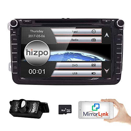 HIZPO 8 inch Double Din In Dash Car Stereo for VW Volkswagen Golf Passat...