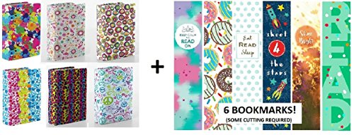 Kittrich Stretchy Book Covers With Bonus Bookmarkers, Assortment of Prints, 6 Pack, Maximum Stretch up to 9 x 11-Inch (Stretch Book Covers)