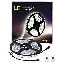 LE 12V Flexible LED Strip Lights, 6000K Daylight White, 150 Units 5050 LEDs, 109lm/ft Light Strips, Pack of 5M … (Waterproof)