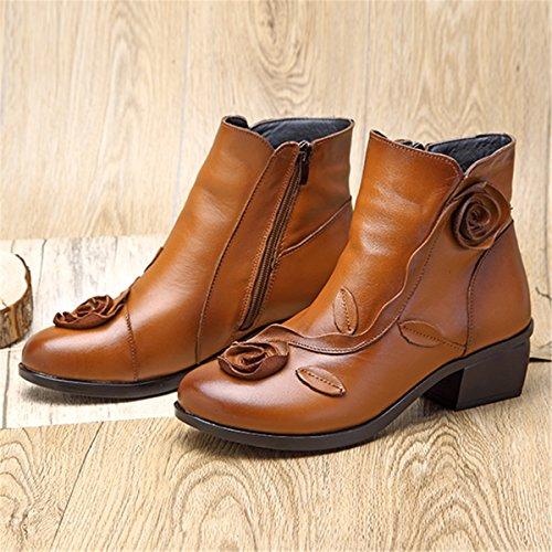 Socofy Damen Kurzschaft Stiefel, Damen Ankle Boots Blume Boots Kurz Stiefel Handmade Lederstiefel Leather Chukka Boots für Frau (Hersteller-Größentabelle IM Bild Beachten) Gelb mit Fell 5
