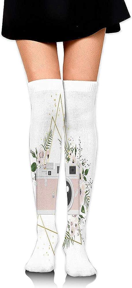 Vintage Recording Machine Flowers Leaf Bouquet Wedding Bridal Theme,60CM Over Knee High Socks