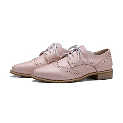 Women's Vintage Oxfords Shoes - Comfy Lace-up Brogue Perforated Pointed Toe Casual Shoes