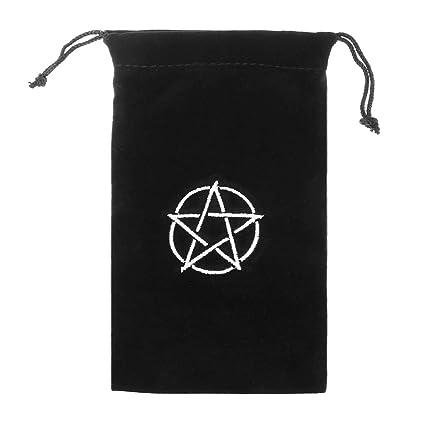 Terciopelo Pentagram Tarot bolsa de almacenamiento tarjeta de juego bordado cordón paquete