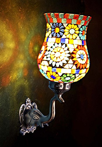 Light Mosaic Sconce (Lalhaveli Vintage Decorative Turkish Mosaic Glass Wall Light Sconce Fixture/Indoor & Outdoor Home Decor Wall Lamp for Living Room, Bed Room and Balcony, Bronze Finish)