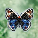 Blue Pansy Butterfly Beaded Counted Cross Stitch Ornament Kit Mill Hill 2017 Spring Bouquet MH181711 offers