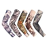 iToolai Unisex Temporary Fake Tattoo Sleeves for Men and Women (Dark-N5, Pack of 5)