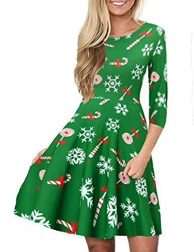 Idgreatim Women Christmas Dress 3/4 Sleeve Santa Claus Print Pullover Flared A Line Party Dresses S for $<!--$15.88-->