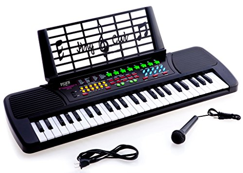 D'Luca Children 49 Keys Electronic Piano Music Keyboard Black
