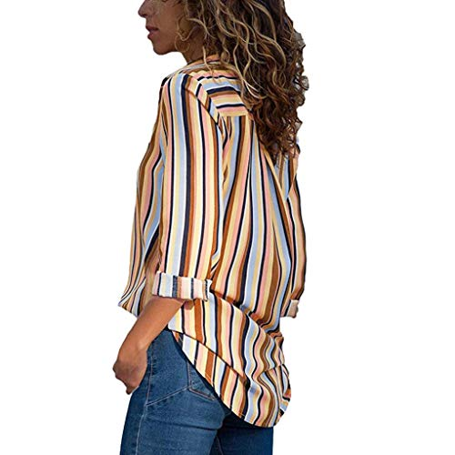 Up Button Top Chemisier Col Chemise Chic Guesspower Femme Tunique Chemisier Longues Ray Multicolore Classique Orange Shirt Manches Top Mode V Blouse fxxXTHYwq