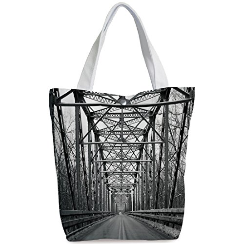 iPrint Canvas Shopping bag,shoulder handbags,Shoulder Bag,Black and White,Road Through Bridge Tunnel Urban City and Modern Architecture Image Decorative,Black White Grey,Funky Canvas Tote Bag