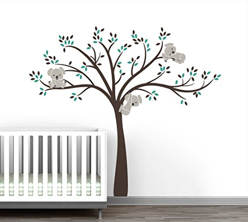 Modern Koala Cuteness Tree Wall Decal for Baby Nursery Decor - Natural Gender Neutral Color Collection by LittleLion Studio