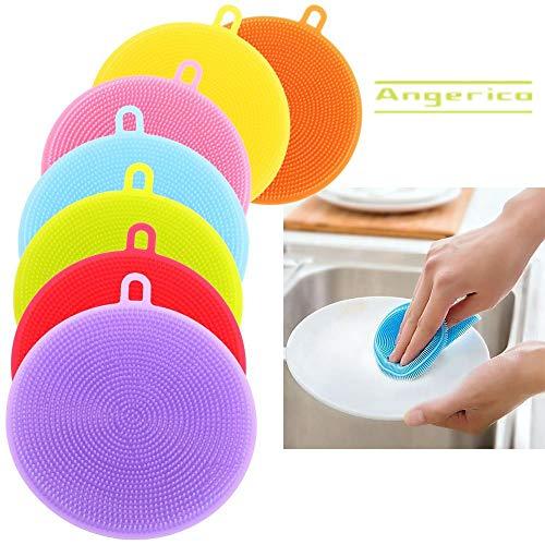 Food-Grade Silicone Dish Sponge -Angerico Antibacterial Magic Sponge - Mildew-Free Dishwashing Better Sponges - Dishwasher Safe Dish Brush -Smart Kitchen Scrubber Kitchen Accessories (7 Pack) ()