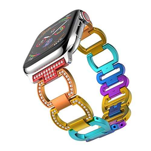 certainPL Bling Band Compatible Apple Watch Band 40mm Series 4, Chain Style Diamond Rhinestone Metal Wristband Strap Replacement Band for Apple Watch 40mm