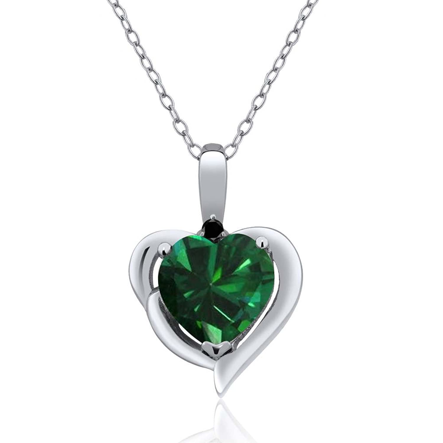 1.52 Ct Heart Shape Green Simulated Emerald and Black Diamond 925 Sterling Silver Women's Pendant with 18 Inch Silver Chain