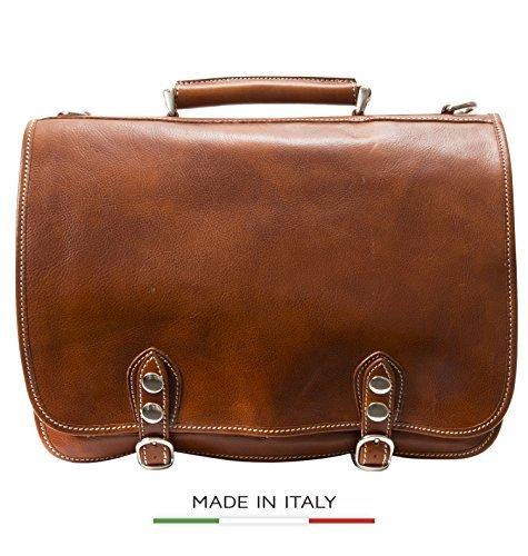 Alberto Bellucci Men's Italian Leather Double Compartment Laptop Messenger Bag Honey One Size [並行輸入品]   B078FX2S6R