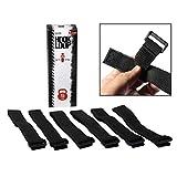"""Hook 'n Loop Industrial Strength 1"""" x 12"""" Reusable Black Nylon Looping Straps (6 Strap Pack)"""