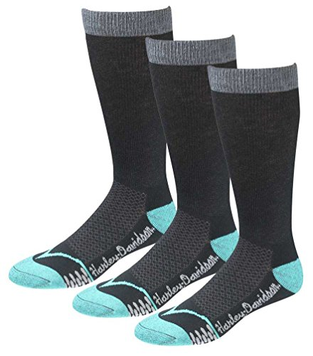 (Harley-Davidson Women's CoolMax Performance Rider Socks (Teal, Med), 3 Pairs)