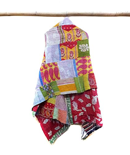 New Indian Cotton Kantha Fashion Scarf Reversible Bohemian Handmade Hijab Band patchwork