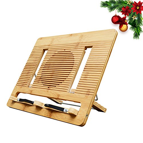 Bamboo Book Stand Portable and Foldable Reading Stands Multipurpose Book Holders for Textbook,Cookbook,Music,Reading,Piano,Ipad,Laptop