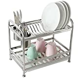 MyGift 2 Tier Freestanding Stainless Steel Kitchen Dish Air Drying Storage Rack with 2 Utensil Cups