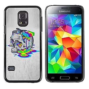 TopCaseStore / la caja del caucho duro de la cubierta de protección de la piel - Paint Colors Lsd Drugs Skull Deep Acid - Samsung Galaxy S5 Mini, SM-G800, NOT S5 REGULAR!