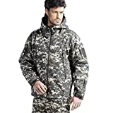 FREE SOLDIER Men's Tactical Jacket Waterproof Army Military Hooded Jacket Softshell Autumn Winter Jacket (ACU Digital M)