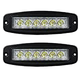 Liteway Pair 7Inch 18W Cree LED Light Bar Flood Work Lamp Flush Mount Offroad Daytime Running Lamp Driving Headlight Auxiliary Lighting SUV Motorcycle Boat Jeep 4Wd Truck ATV Car, 1 Year Warranty
