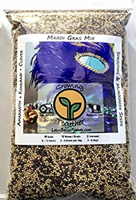 Sprout Life Mardi Gras Mix Microgreen & Sprouting Seeds 1/2-lb (Amaranth, Kohlrabi, & Clover) with Wooden Seed Scoop. Plus Healthy Sprout Recipe eBook