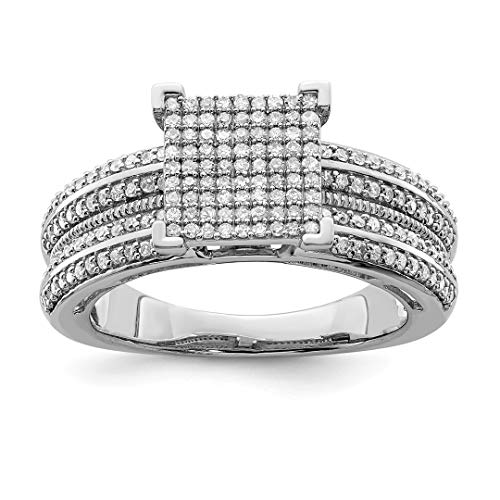 Ring Engagment Diamond Set - 925 Sterling Silver Diamond Square Band Ring Size 8.00 Fine Jewelry Gifts For Women For Her