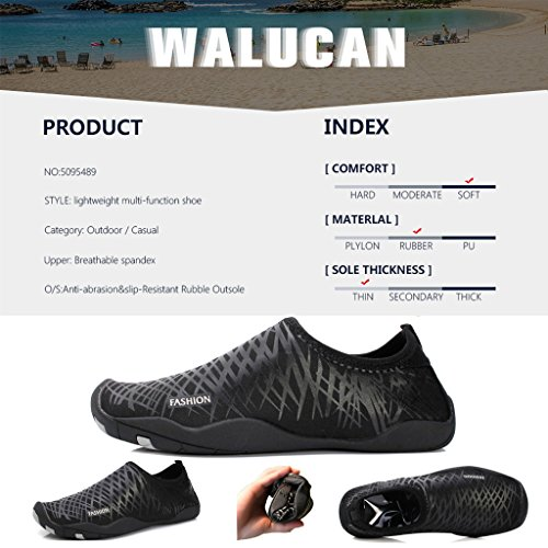 WALUCAN Wasser Schuhe Barfuß Quick-Dry Aqua Sport für Yoga Beach Driving Walking für Männer und Frauen Nest Schwarz