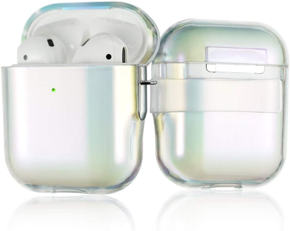 AirPods Cases Clear Covers for Apple AirPods 2 & 1, with Detachable Belt Clip,6 in 1 with Carabiner/Strap/Earhooks/Watch Band Holder, Shockproof Hard PC Protective Transparent Skin Case by KINGXBAR