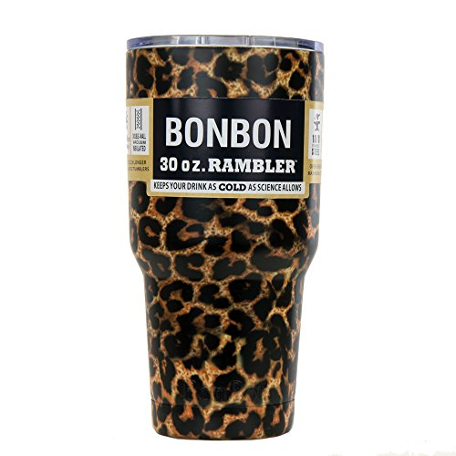 BonBon 30 oz Ounce Rambler Tumbler Stainless Steel Cup with Lid (leopard)