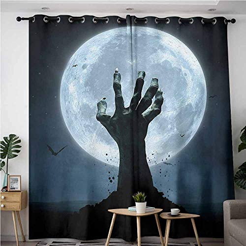 Willsd Simple Curtains,Halloween Realistic Zombie Earth Soil Full Moon Bat Horror Story October Twilight Themed,Grommet Curtains for Bedroom,W108x72L,Blue Black -