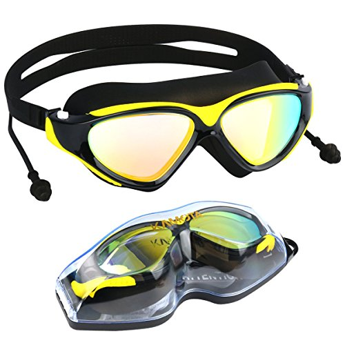Swim Goggles, KAMOTA Large Frame Swim Goggles, Colorful Plated Swimming Glasses with Anti-Fog, UV Protection, Free Protection Case, Fit for Teenagers Adult Men Women - How To Smoke Lenses