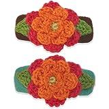 Vanity Hair Crochet Hair Clips Set - 2 Tone Flower - Turq, Brown