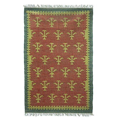 NOVICA Red Jute Wool Blend Geometric Flat-Weave Area Rug, (4x6), 'Fascinating Trees' (Rattan Rugs)