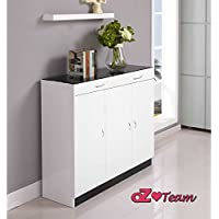 High Gloss Shoe Cabinet Up to 42 pair shoe Rack Storage Organiser Shelf Cupboard